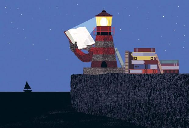 Illustrasjon av et fyrtårn som leser bøker. Illustratør: Kristian Utrimark