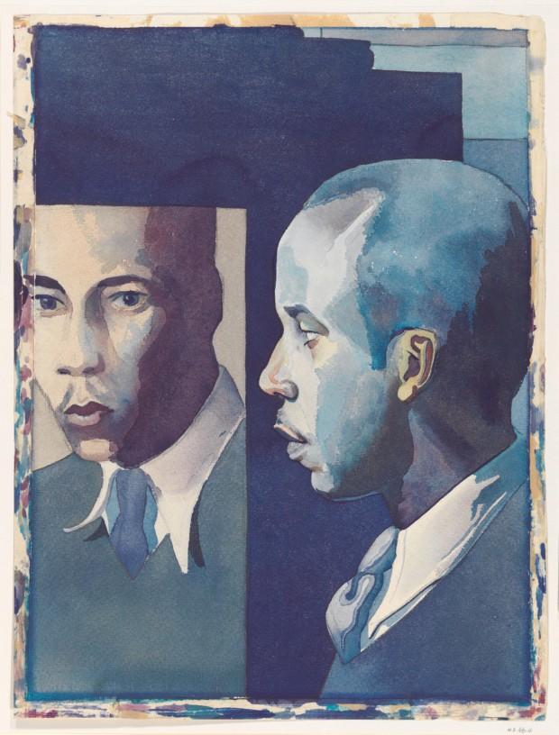 Selvportrett av Samuel Joseph Brown, Jr.i akvarell